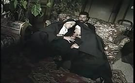 Nuns and a priest: Threesome scene from